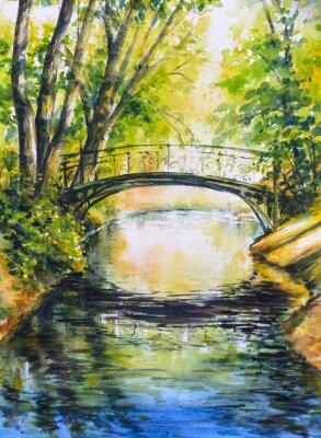 Sticker Sommerlandschaft mit Brücke über den Fluss im park.Picture erstellt mit Aquarellen.