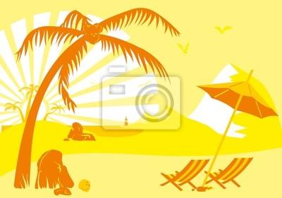 Sommerurlaub am Strand unter einer Palme