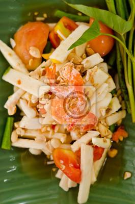 Somtam, Coconut shoot Salat mit shirmp, Bohnen und Gemüse