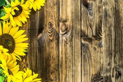 Sticker Sonnenblumen auf rustikalen Holz Hintergrund. Blumen Hintergründe mit Kopie-Raum