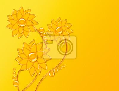 Sonnenblumen wie ein Tropfen auf einem sonnigen Hintergrund