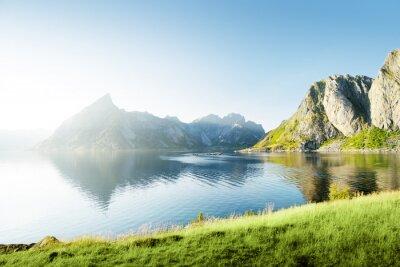 Sticker Sonnenuntergang auf den Lofoten Inseln, Norwegen