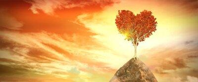 Sticker Sonnenuntergang mit Herz-Baum
