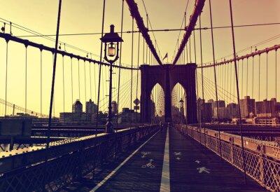 Sticker Sonnenuntergang Nachleuchten vor der Brooklyn Bridge