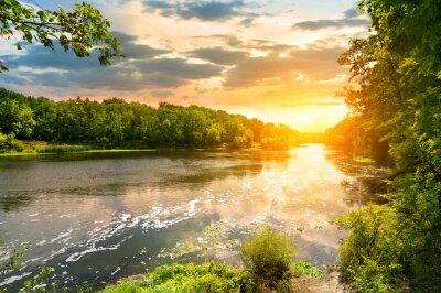 Sonnenuntergang über dem Fluss in den Wald