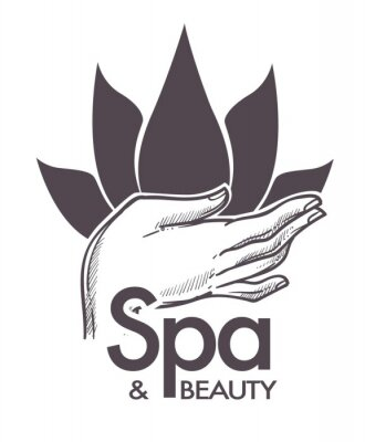 Sticker Spa and beauty, cosmetic procedures, aromatherapy in salon vector.