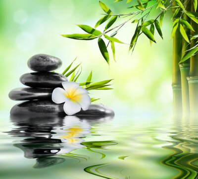 Sticker Spa Massage im Garten mit Frangipani und Bambus