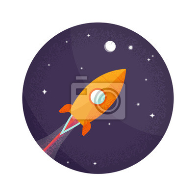 Space rocket flying in space with moon and stars.