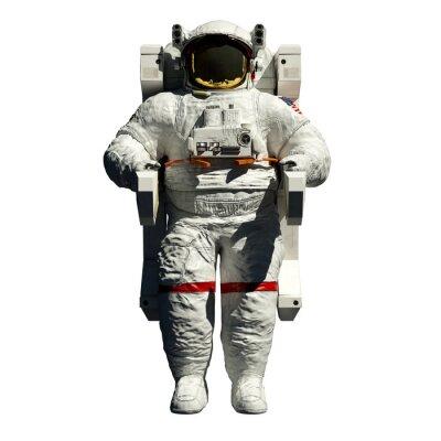 Sticker spacewalking Astronaut - 3D-Darstellung auf weißem Vorderansicht