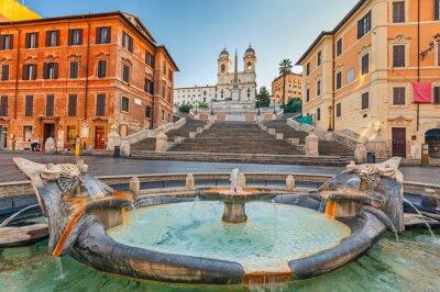 Sticker Spanische Treppe am Morgen in Rom, Italien