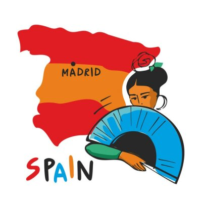 Spanish girl with a fan in her hand and a rose on her head on the background of the map of Spain. Concept of Spanish characters drawn. Elements for travel guides. Flat cartoon vector illustration.