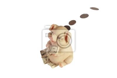 Sparschwein mit Geld fliegen