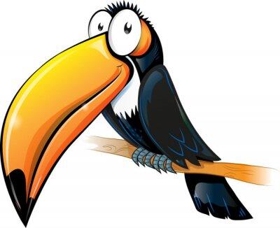 Sticker Spaß toucan Cartoon isoliert auf weiß.