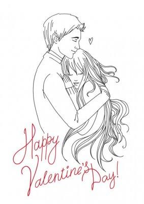 """Speichern Download Vorschau Umrisszeichnung von umarmt junges Paar mit Text """"Happy Valentinstag"""""""