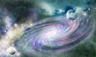 Sticker spiral galaxy in universe