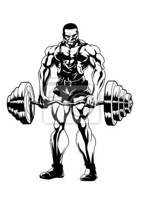 Sport Bodybuilding, Vektor, Illustration, Logo, Tinte, schwarz und weiß, Umriss, isoliert auf einem weißen