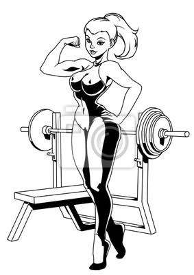 Sport Fitness Mädchen, Vektor, Illustration, Logo, Tinte, schwarz und weiß, Kontur, isoliert auf einem weißen