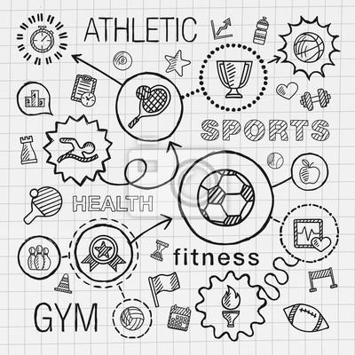 Sport Hand Zeichnen Integrierte Symbole Gesetzt Vector
