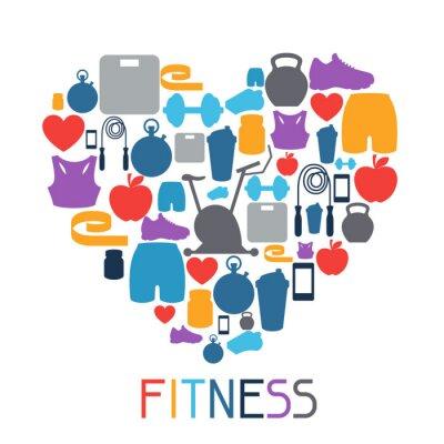 Sticker Sport Hintergrund mit Fitness-Icons in flachen Stil.