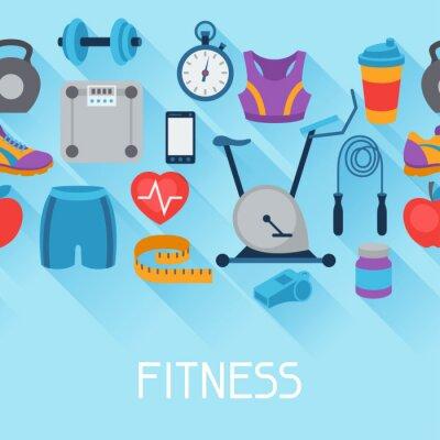 Sticker Sport nahtlose Muster mit Fitness-Icons in flachen Stil.