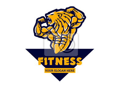 Sport strong bodybuilder lion, illustration, cartoon, clipart, logo