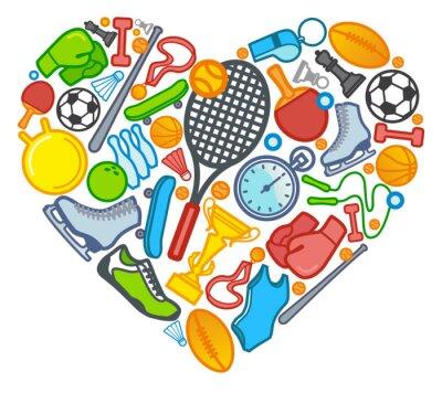 Sport Symbole in Form von Herzen