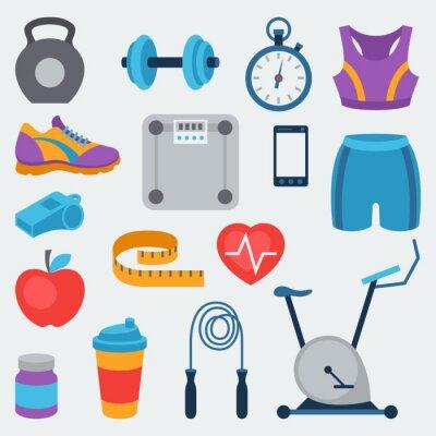 Sticker Sport-und Fitness-Symbole in flachen Stil.