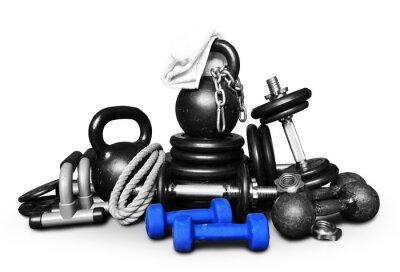 Sticker Sportgeräte für Bodybuilding in einem Haufen gesammelt