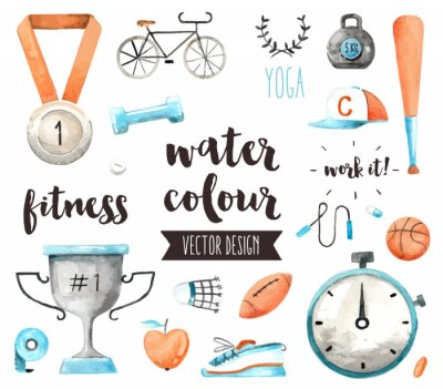 Sticker Sports Awards Watercolor Vector Objects