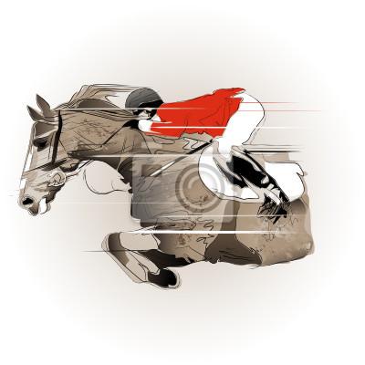 Springen Pferd und Jockey