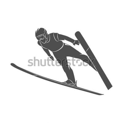 Sticker Springender Skifahrer des Schattenbildes auf einem weißen Hintergrund. Foto Abbildung.