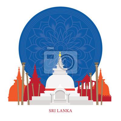 Sri Lanka Wahrzeichen mit Dekoration Hintergrund