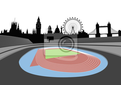 Stadion mit London Skyline - Vektor