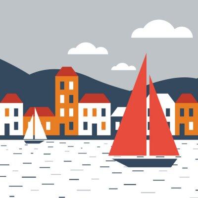 Sticker Stadt am Meer