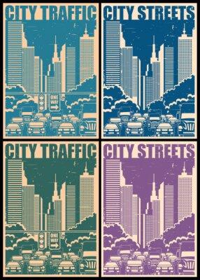 Sticker Stadt Straßen Retro-Poster