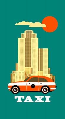 Sticker Stadt-Taxi-Plakat