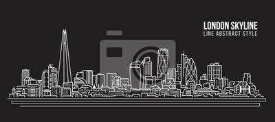 Stadtbild Gebäude-Linie Kunst Vektor-Illustration Design - London Skyline