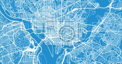 Städtische Vektorstadtkarte von Washington DC, USA