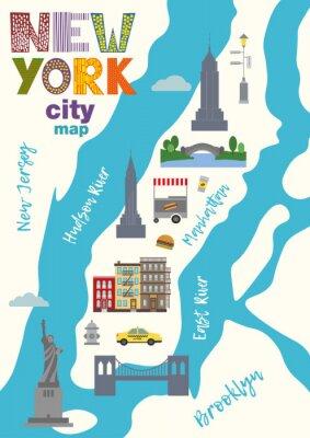 Sticker Stadtplan von Manhattan von New York City