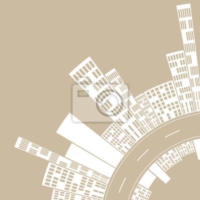 Sticker Stadtstraße weichen Tag, eine stilisierte Darstellung einer Innenstadt-Kurve, mit einer Skyline der Stadt auf jeder Seite der Straße