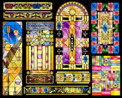 Sticker Stained Glass Abstract Vintage and Modern Designs Collection