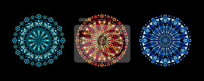 Sticker Stained glass illustration collection, circle shape pattern, rose window mandala ornament, tracery. Round frames set, radial floral motive design element. Colorful mosaic decoration, background