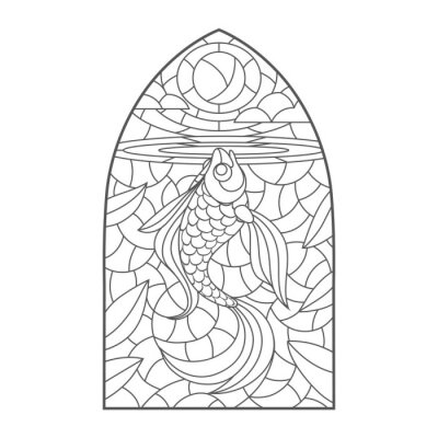Sticker stained glass window with goldfish , vector graphic to design