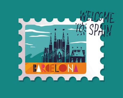 stamp in vector with the image of Barcelona attractions and writing Barcelona hand-drawn on a blue background next words welcome to Spain on posters or travel guides