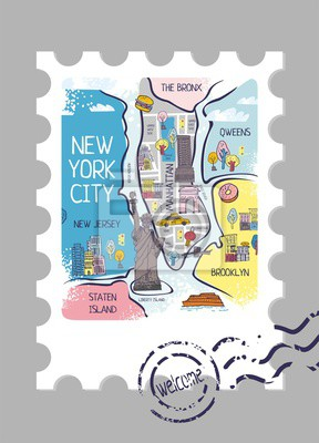 Stamp with a decorative map of new York and a stamp with the inscription welcome. Banner for travel site in America, guides, cards, maps. Sights and main elements of a big city. Vector illustration.