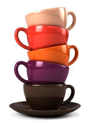 Sticker Stapel von Kaffeetassen isoliert auf weiß