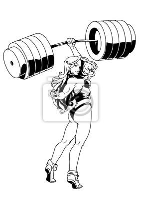 Starke Fitness Mädchen, Vektor, Illustration, Logo, Tinte, schwarz und weiß, Kontur, isoliert auf einem weißen
