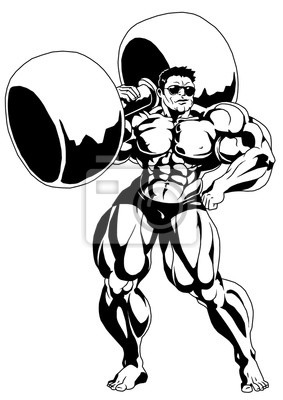 Starken muskulösen bodybuilder, illustration, logo, tinte, schwarzweiss, umreiß, getrennt auf einem weißen