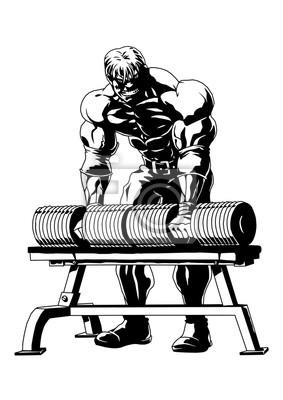 Starker muskulöser Bodybuilder, Vektor, Illustration, Logo, Tinte, Schwarz-Weiß, Umriss, isoliert auf einem weißen