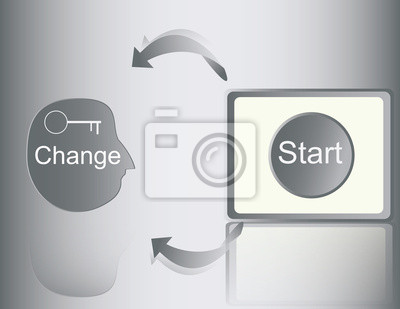 Start to change mind , idea image with design